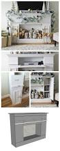 ana white faux fireplace mantle with hidden storage cabinets
