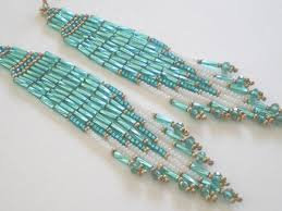 Beaded Turquoise Chandelier Long Emerald Brick Stitch Chandelier Earrings Misschicboutique