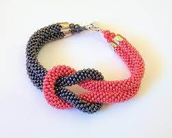 crochet bracelet with beads images Beadwork bead crochet bracelet in grey and red beaded jpg