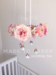 Girls Pink Chandelier Bright Pink And Gold Nursery Flower Mobile Pink Crib Mobile Pink