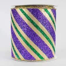 mardi gras ribbon 4 diagonal glitter stripe ribbon mardi gras 10 yards
