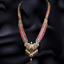 diamond long necklace images Gold antique diamond necklace designs navrathan jewellers jpg