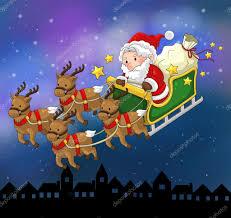 santa claus on a reindeer sleigh in christmas in night scene