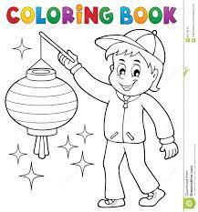 Garçon De Livre De Coloriage Avec Le Lampion Illustration de Vecteur