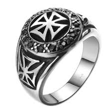 ring men vintage cool stainless steel zircon cross band ring men jewelry at