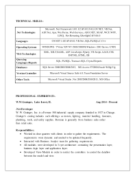 Sample Resume Net Developer by Karthik Net Resume