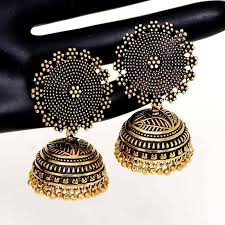 jhumka earrings buy oxidised gold plating handmade jhumka earrings online