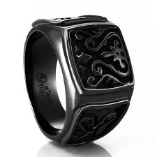 rings titanium black images Heritage carved signet titanium ring by edward mirell png