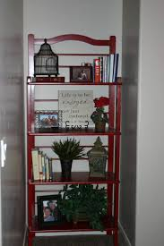 red bakers rack for small space and 4 tier shelving unit