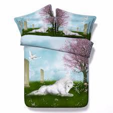 Kids Single Duvet Cover Sets Aliexpress Com Buy Unicorn Series Kids Single Bed Purple 3d