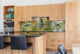 tropical kitchen tui portrait printed image on glass kitchen splashback tropical