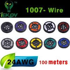 1007 24 awg cable copper wire 100 meters red blue green black