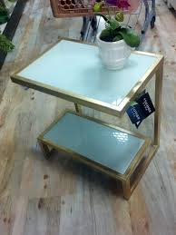 gold and glass side table score from homegoods on the blog today