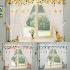 Daisy Kitchen Curtains by Daisy Floral Embroidered Complete Window Sets Embroidered Kitchen