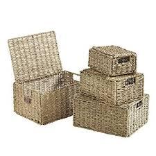 Seagrass Bathroom Storage Vonhaus Set Of 4 Seagrass Storage Baskets With Lids