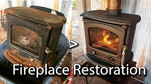 off grid build fixing up a rusted out cast iron wood stove youtube
