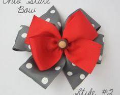 ohio state ribbon ohio state buckeye hair clip osu ribbon barrette buckeye bead