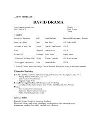 Ballet Resume Sample by Acting Resume Template Free Sample Techie Designer Theatrical