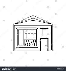 one storey house one storey house sloping roof icon stock illustration 487432180