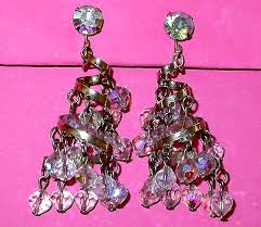 Costume Chandelier Earrings Vintage Costume Jewelry Bridal Earrings Clear Aurora Borealis