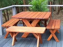 picnic table plans detached benches redwood northwest redwood tables planters benches more redwood patio