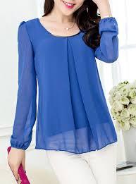 sleeve chiffon blouse sleeved chiffon blouse coral single front pleat