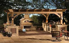 free standing pergola kitchen outdoor with fireplace