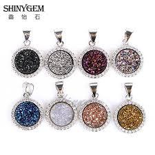 stone pendant necklace wholesale images New druzy pendent wholesale agate quartz stone flat round copper jpg