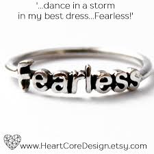 Ring Halloween Costume Sterling Silver Fearless Word Stack Ring Graduation Gift