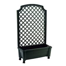 calypso 31 in x 13 in green plastic planter with trellis and