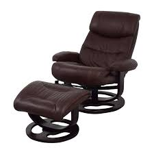 59 off macy u0027s macy u0027s aby brown leather recliner chair u0026 ottoman