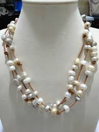 freshwater pearls necklace images Baroque freshwater pearls necklace with leather multilayer brown jpg