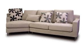 Bedroom Furniture New Jersey Beige Fabric Modern Sectional Sofa W Metal Legs