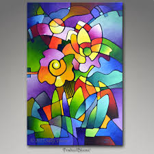 cubism flower painting abstract painting original painting blue painting large