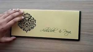 indian wedding card designs indian wedding card in green and golden with cutout design