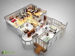 3d luxurious floor plan design ideas of house with well