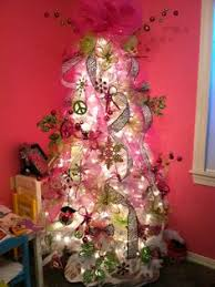 pink teal lime green tree topper tree