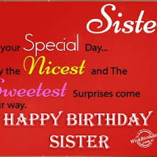 simple red birthday greeting card wishes for sister from brother