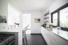 beautiful brown white wood unique design small galley kitchen