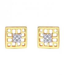 d damas gold earrings earrings d damas check box shaped diamond studded gold earring