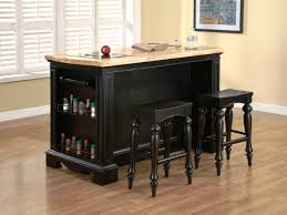 Wheeled Kitchen Island Furniture Black Wooden Portable Kitchen Island With Seating With