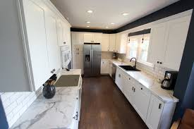 White Formica Kitchen Cabinets White Kitchen With Marble Look Laminate Countertop Akron Oh