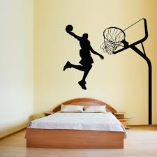 basketball player and hoop sports wall decal happy walls basketball player and hoop sports wall decal