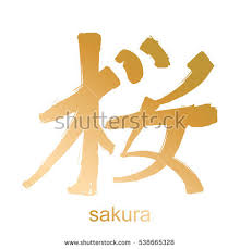 japanese kanji calligraphic word translated stock vector