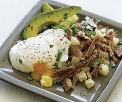 dinner egg recipes pork and potato hash with poached eggs and avocado recipe