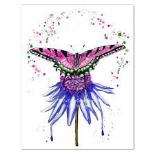 pink butterfly on blue flower watercolor print modern insect