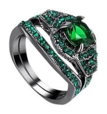 black gold wedding sets green and black 2pc emerald gold filled wedding set 7 ring tradesy