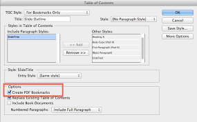 use indesign table of contents to make pdf bookmarks