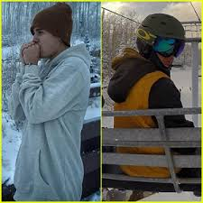 justin bieber goes snowboarding for the thanksgiving
