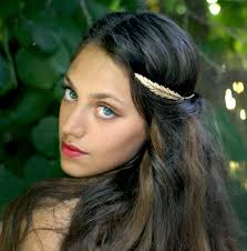 goddess headband indian feather crown goddess headband bridal hair